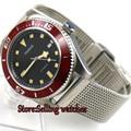 43 мм parnis черный циферблат miyota автоматические мужские часы красный ободок сапфировое стекло