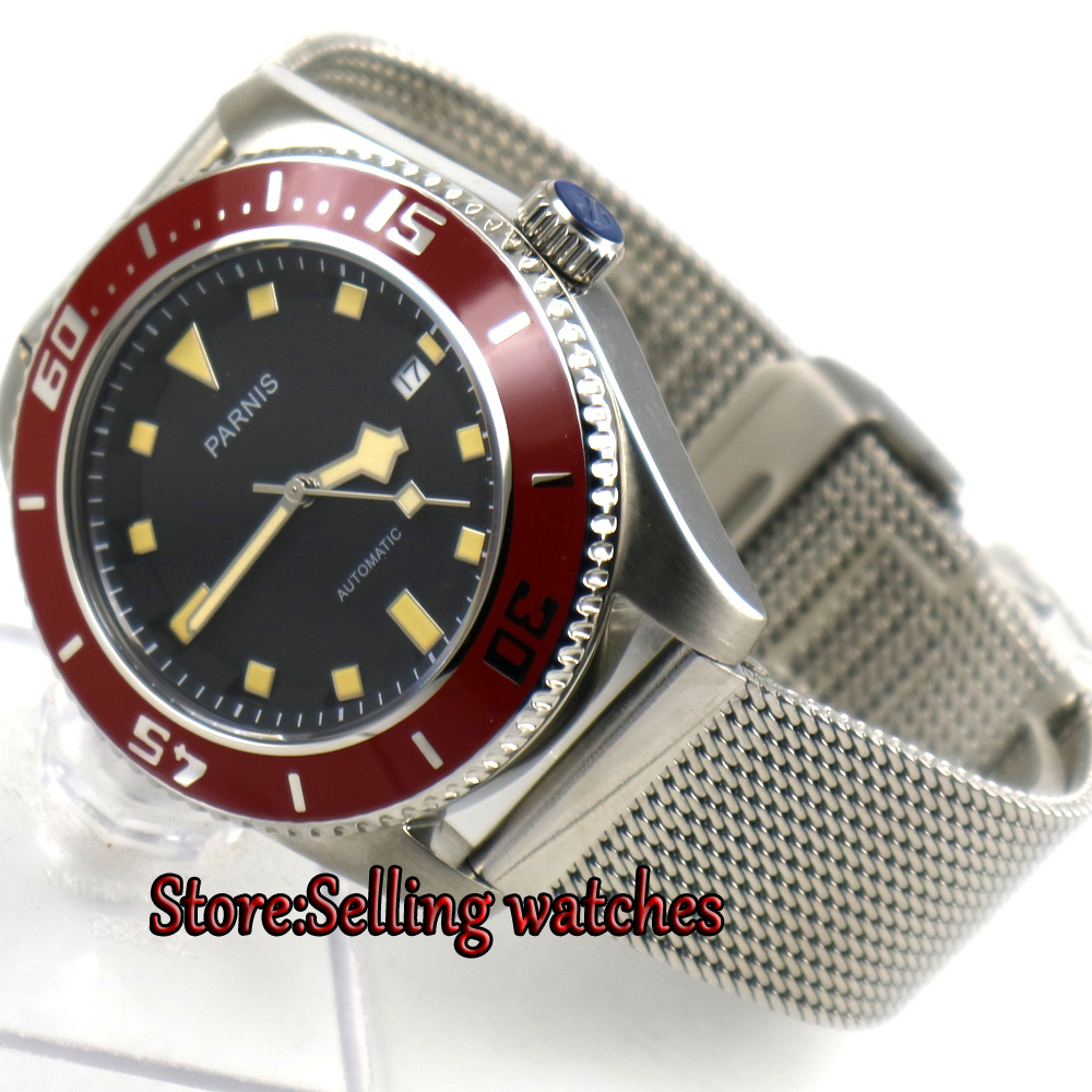43mm parnis black dial miyota automatic mens watch red bezel sapphire glass