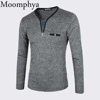 Moomphya 2018 Rits hals t-shirt lange mouw tshirt koele borst pocket mannen grappige t-shirt hiphop t-shirt street wear tee shirt