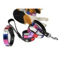 (1 cổ áo + 1 Dây Xích) Sáng Đa màu sắc đóng sổ Pu Leather Chất Liệu Rhinestone Paw Đồ Trang Trí Giáng Sinh Thú Cưng Dog Collar Dây Xích