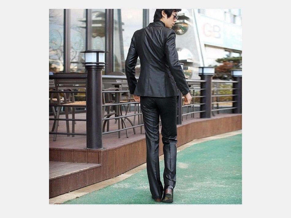 Для мужчин костюмы Тонкий Высокое качество смокинги Марка мужская деловая обувь модные Бизнес одежда высшего качества и штаны, лидер продаж,, B006