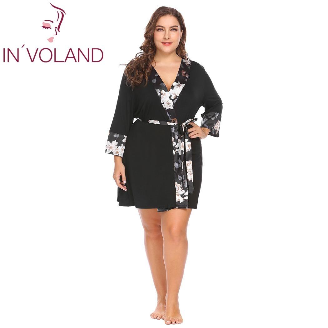10cbbb7392fcead IN'VOLAND Для женщин пижамы халат мягкий кимоно платье плюс Размеры пижамы Ночная  рубашка цветочный