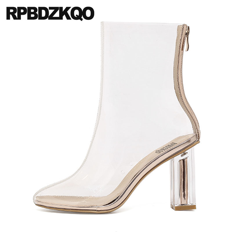 Peep Toe Clear Designer Shoes Women Luxury 2018 Size 41 Big Pvc Ankle Boots Summer Chunky High Heel 9 Sandals Transparent BrandPeep Toe Clear Designer Shoes Women Luxury 2018 Size 41 Big Pvc Ankle Boots Summer Chunky High Heel 9 Sandals Transparent Brand