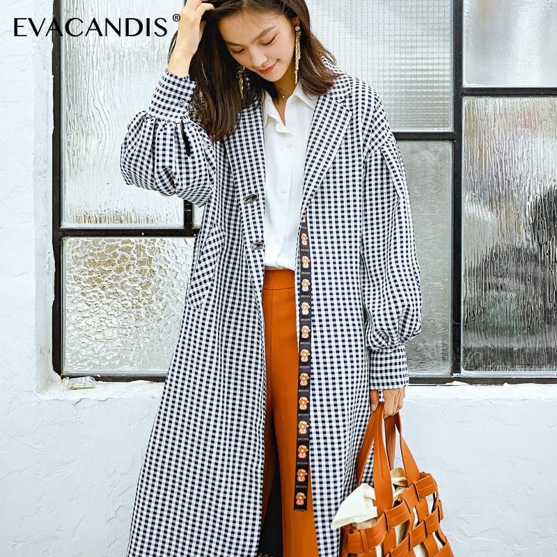 Plaid   Trench   Coat Women Office Long Coat Lantern Sleeve Korean Polka Dot Belt Cartoon Notched Black Plus Size   Trench   Duster Coat