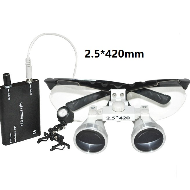 New Black Dentist Dental Surgical Medical Binocular Loupes 2.5X 420mm Optical Glass Loupe+LED Head Light Lamp 2pcs pipe diameter 8mm universal dental optical fiber curing light lamp guide rod tip glass led tip black
