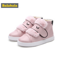 Balabala Girls Fleece-Lined PU Leather High Tops Shoes for Toddler Girl Kids Loop Fastener with Faux Fur Detail at Top Round Toe(China)