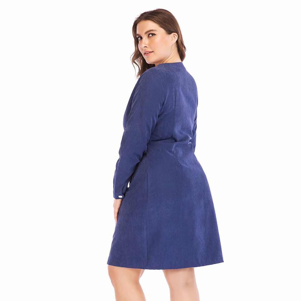 2018 패션 브랜드 여성 새 드레스 대형 큰 크기 6XL 스트레이트 전체 슬리브 캐주얼 작업 파티 드레스 여성 선물 Vestidos