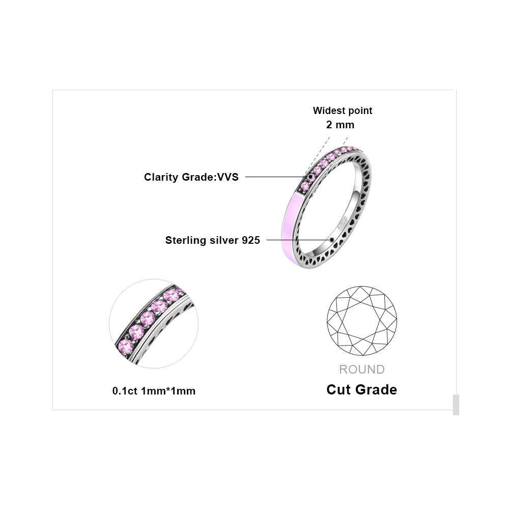 Jewelrypalace สีชมพูชุด Cubic Zirconia STACKABLE งานแต่งงานแหวนเงินแท้ 925 สำหรับผู้หญิงเครื่องประดับ