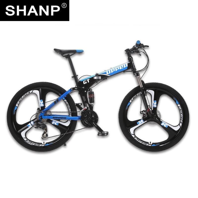 UPPER Mountain Bike Foldable Steel Frame Mechanical Disc Brake 24 Speed Shimano 26 Alloy Wheel 3 Spokes lauxjack mountain bike steel frame 24 speed shimano 26 wheel