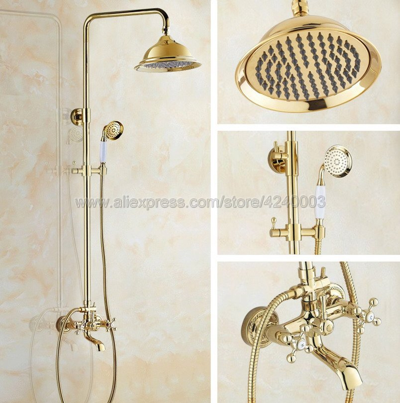 Luxury Gold Color Brass Wall Mounted Shower Faucet Bathroom Rainfall Shower System Set Faucet Tub With Handheld Sprayer Kgf353