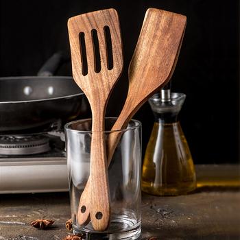 Drewno tekowe Turner długa rączka łopatka kuchnia Turner nieprzywierająca naczynia do gotowania drewniana szpatułka szpatułka z otworami zestaw drewniane naczynia tanie i dobre opinie BalmyDays Zaopatrzony Ekologiczne Ce ue Lfgb KG-W4005 Drewna Zestawy naczynie Wooden Spatula Kitchen Turner Wooden Kitchen Utensils