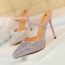 basic mules high heels pumps women shoes Sexy female fine heel waterproof platform pointed crystal ladies wedding bridal shoes цена