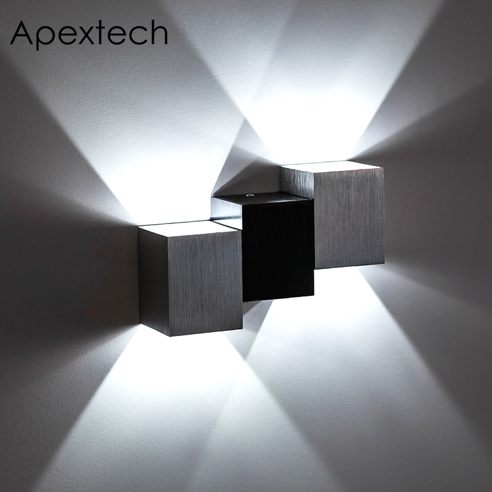 apextech modern led wall lamp 6w cob square aluminum surface wall mounted night lights. Black Bedroom Furniture Sets. Home Design Ideas