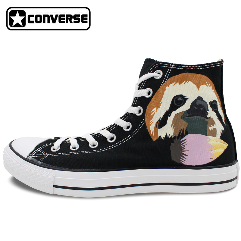 купить  High Top Canvas Shoes Women Men Converse Chuck Taylor Cute Sloth Original Design Custom Hand Painted Sneakers Christmas Gifts  онлайн