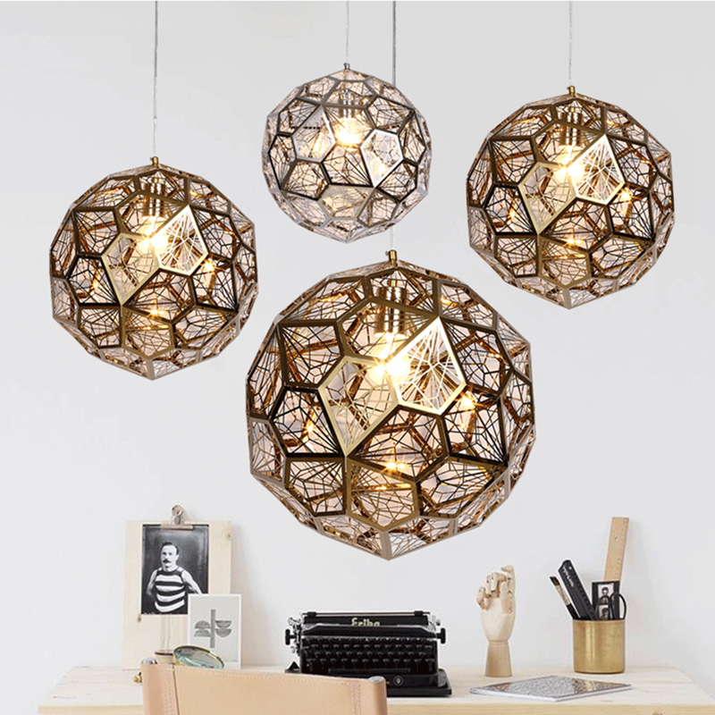 Art deco led pendant lights metal for dining room modern pendant lamp e27 gold/ silvery hanging lights vintage lamp AC 110V 220V nordic modern led pendant lamp creative imitation wood grain pendant lights e27 for kitchen dining room art deco bar ac110v 220v