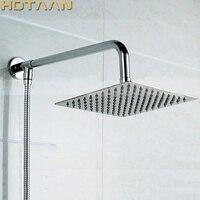 Barato Brazo de ducha de latón montado en la pared envío gratis cromado + cuadrado ultrafino 8 Cabeza de ducha Chuveiro YT-5148