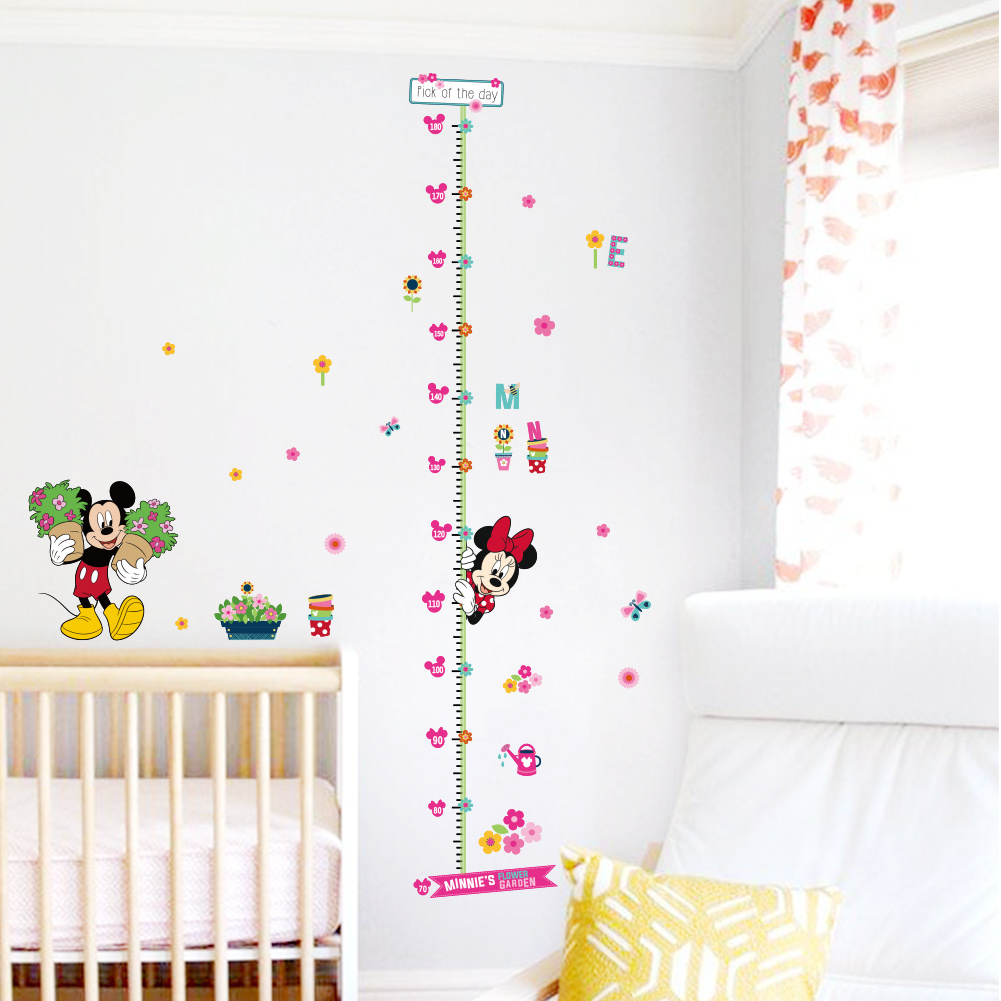 Minnie Mickey Growth Chart Decorative Wall Stickers For Kids Room Cartoon Flower Height Measure Deco