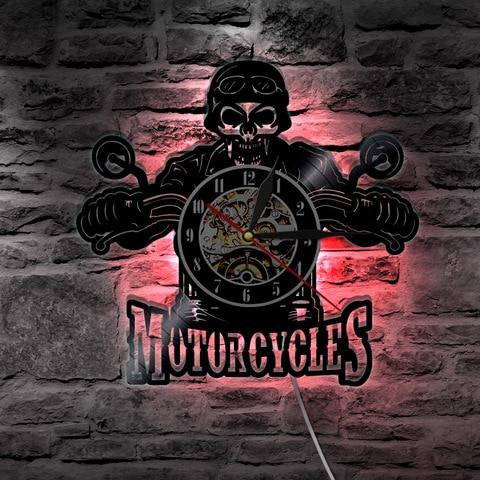 1 peca motocicletas cranio vinil registro relogio