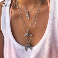 Mermaid Tail Virgin Chain Alloy Moon Coconut Tree Metal Rod 3 Layer Pendant Necklaces Bohemian Party Jewelery Choker Necklace(China)