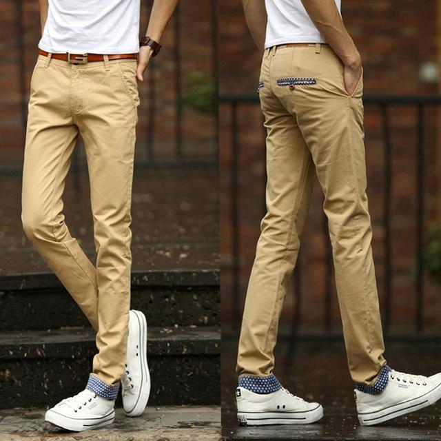Men Pants Trousers Casual Fashion Cotton Outdoors Slim Mp506 Khaki