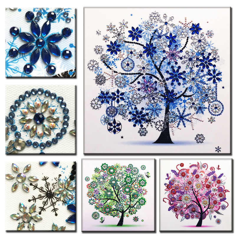 RUBOS DIY 5D Diamond Embroidery Triptych Trees Bead Special Diamond Painting Big Pearls Picture Rhinestone Drill Sale Wall Decor