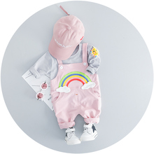 hot deal buy zwxlhh 2019 new style  baby girls clothing sets kids children clothes suits  rainbow t shirt pants  infant  toddler infant suit