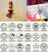 1Pcs Custom Made Personalized Name Date DIY Vintage Wood Craft Ink Pad Wedding Invitation Card Wax