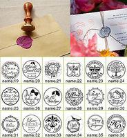 1Pcs Custom Made Personalized Name Date DIY Vintage Wood Craft Ink Pad Wedding Invitation Card Wax