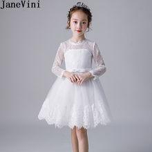 bac4f84644bfc JaneVini Beyaz Dantel Çocuklar Yılbaşı Parti Elbise Uzun Kollu Kısa Diz  Boyu Çiçek Kız Elbise O-Boyun Fermuar Geri Balo Elbise