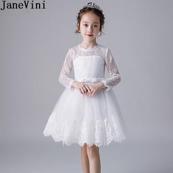 JaneVini White Lace Kids Christmas Party Dress Long Sleeve Short Knee Length Flower Girl Dresses O-Neck Zipper Back Prom Dress