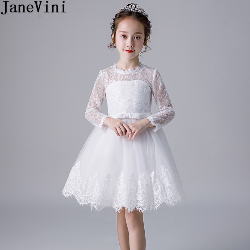JaneVini White Lace Kids Christmas Party   Dress   Long Sleeve Short Knee Length   Flower     Girl     Dresses   O-Neck Zipper Back Prom   Dress