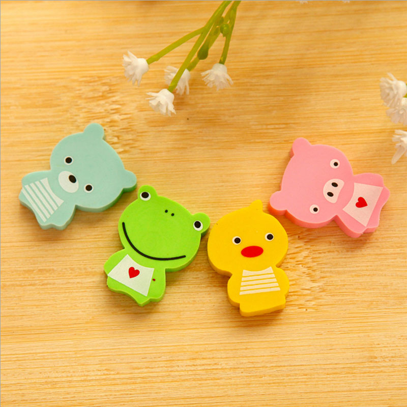 Купить с кэшбэком 4 pcs /lot lovely frog animals mini rubber eraser creative stationery school supplies papelaria child's gift students supplies