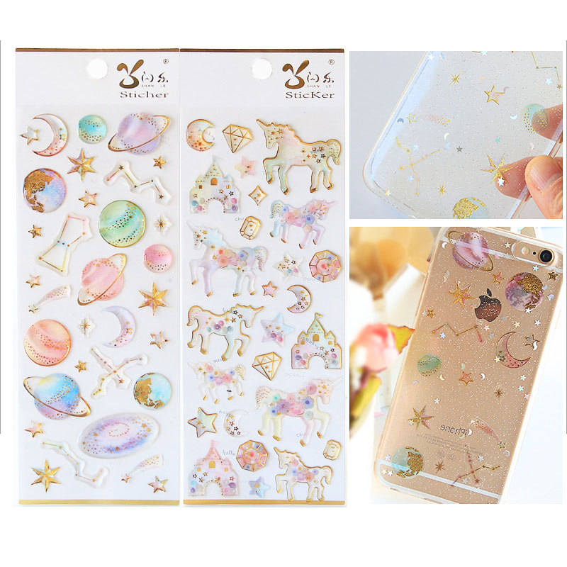Stationery Stickers DIY Cute 3D Stickers Gold Crystal Unicorn Stickers Creative Star Stickers Decorations Scrapbooking Diary наклейки stickers 20