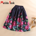 New Elegant High Waist Pleated Mid-Calf Flared Skirts Fashion Women Tutu Skater Casual Skirt Faldas Saia Plus Size Ladies Jupe