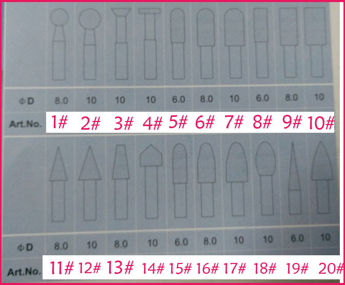 Free shipping, 20pcs Shank 6mm Carborundum Diamond Grinding Head Rotary Tool Burrs Points Polishing Abrasive Grinder Milling