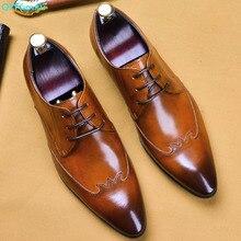 QYFCIOUFU Hot Luxury Vintga Handmade Genuine Leather Wedding Party Office Male Dress Shoe Lace-up Original Design Men Suit Shoes