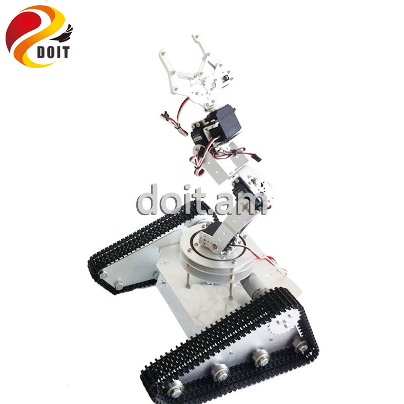 Obstacle-surmounting Tank Car Chassis with 6 dof Robot Arm/ High Torque Metal Structure and Metal Mechanical Claw/robot for DIY wenhsin diy metal structure tank chassis tracked robot car obstacle avoidance