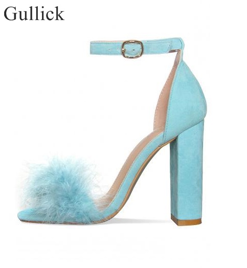 Sexy Thick Heels Fur Sandals For Women Ankle Strap Buckle Chunky Heels Summer Dress Shoes Cut-out High Heels Pumps Real Photo summer new pointed thick chunky high heels closed toe pumps with buckle ankle wraps sweet sandals women pink black gray 34 40
