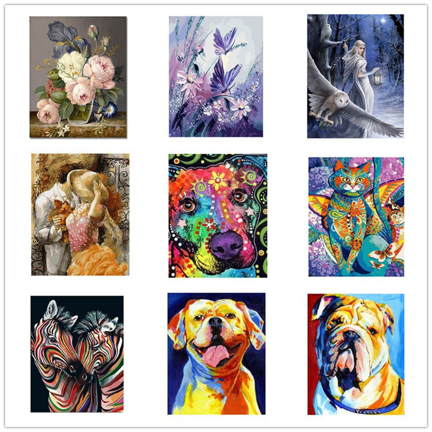 WEEN Colorful Dog Paint By Numbers Canvas For Adults Kids Beginner Kits Abstract Animal DIY Painting By Number With Brushes Art in Painting Calligraphy from Home Garden