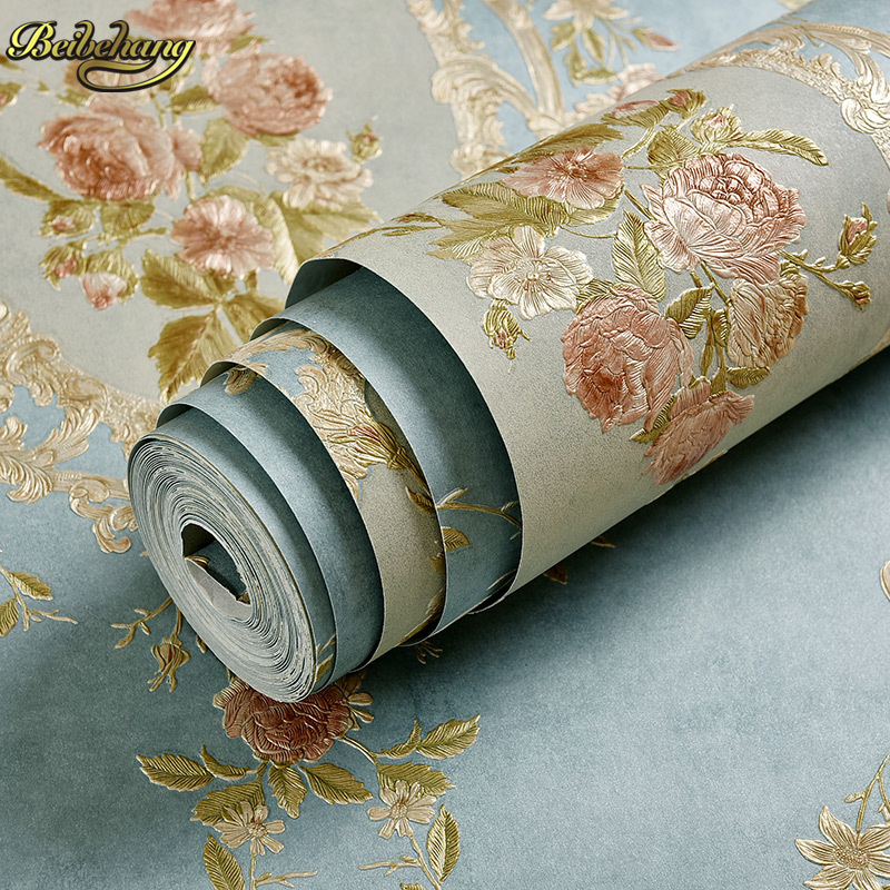 beibehang European retro garden flowers papel de parede 3d Embossed wallpaper for walls 3 d Living Room wall papers home decor bp 3 home garden