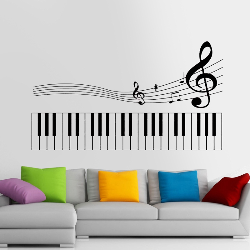 Piano Party Music Note Wall Sticker Rock Car Name Stickers Pub Ktv Decal Home Decoration Mural Band Decal