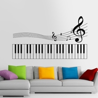 Piano Party Music Note Wall Sticker Rock Car Name Stickers Pub Ktv Decal Home Decoration Mural