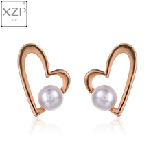 XZP Korean Trendy Cute Love Heart Hollow Earrings For Women Handmade Jewelry Simulated Pearl Fashion Statement Stud Earings