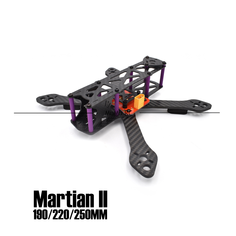 ФОТО martian ii 2 180/220/250 180mm 220mm 250mm 4mm arm carbon fiber frame kit with pdb for fpv cross racing drone quadcopter