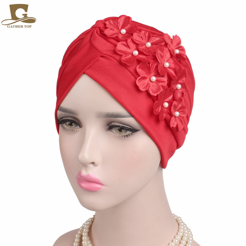 2017 NEW vintage women lady girls flower turban muslim style beanie chemo cap for hair loss hair accessories chemo skullies satin cap bandana wrap cancer hat cap chemo slip on bonnet with ribbon 8 colors 10pcs lot free ship