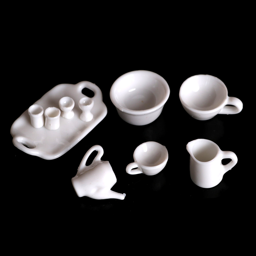 10pcs/set Dollhouse Tea Plates Tableware CupsSet Pretend Play Girl Gift For Barbie Doll Furniture Toys Kitchen Classic Toy Decor