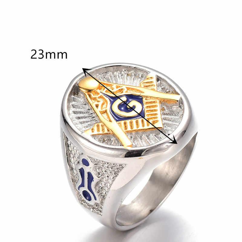 Skute เงินแหวนอิฐสแตนเลสสำหรับชายสัญลักษณ์ Masonic Freemason Masonic Charm แหวนผู้ชายแหวนนิ้วมือเครื่องประดับของขวัญ