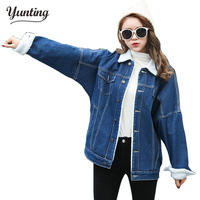 2018 Spring Fur Jean Denim Jacket Winter Blue Women Bomber Jacket Coat with Front Button Flap Pockets,Thicken Lovers Basic Coats