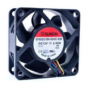 Original EF60251BX-Q03C-S99 6 cm 6025 60x60x25mm 60 milímetros fã DC12V 2.40 W 4 linhas pwm caixa do computador ventilador de refrigeração da CPU
