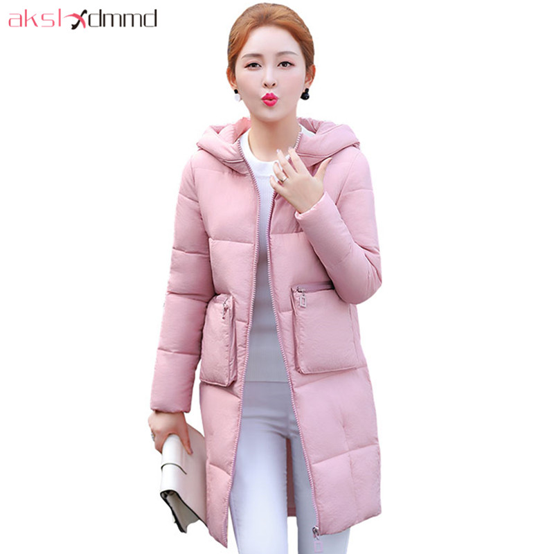 AKSLXDMMD Fashion Big Zipper Pocket Cotton Coat 2017 New Winter Jacket Hooded Thick Mid-long Coat Women Overcoat Parka LH1234 akslxdmmd casual thick winter jacket women parka 2017 new fur hooded long coat female solid color overcoat lh1203